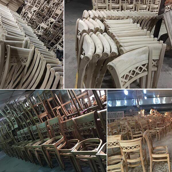 restaurant chairs half finish in factory workshop