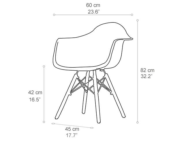 Eames plastic Armchair dimension