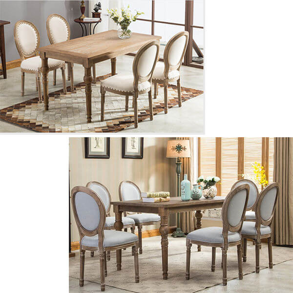French Round Fabric Side Chair Dinnig Set